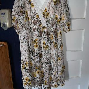 """Ivory floral """"cold shoulder"""" skater dress"""